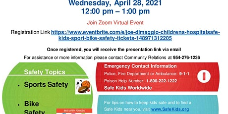 Joe DiMaggio Children's Hospital/Safe Kids - Sport  & Bike Safety tickets