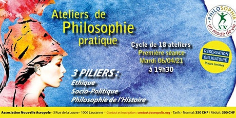 Cycle de 18 ateliers  hebdomadaires de Philosophie à Vivre billets