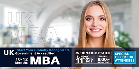 Free MBA Webinar -WES Approved, Internationally Recognized, UK and European tickets