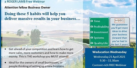 Webinar: 5 habits to help you deliver massive results in your business tickets
