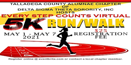 Talladega County Alumnae Chapter - Every Step Counts Virtual 5K Run/Walk tickets