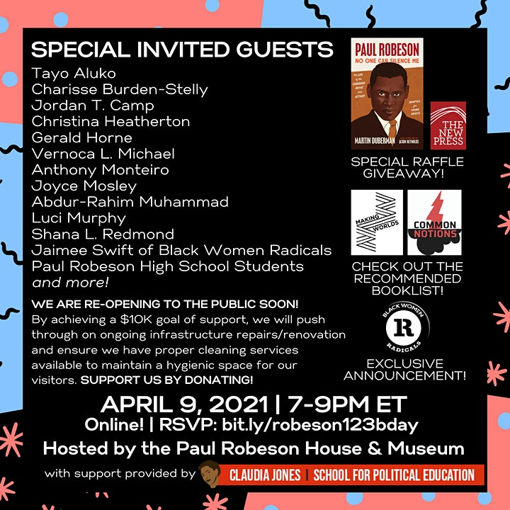 CELEBRATION & FUNDRAISER: Paul Robeson's 123rd Birthday w/ Special Guests image