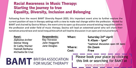 Racial Awareness in Music Therapy: Starting the journey to true EDIB tickets