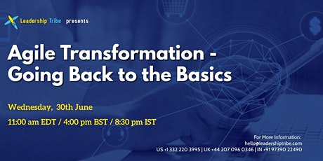 Agile Transformation - Going Back to the Basics - 300621 - Sweden tickets