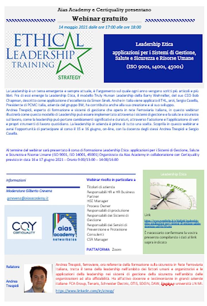 Immagine Leadership Etica: applicazioni per i Sistemi di Gestione, Salute  Sicurezza