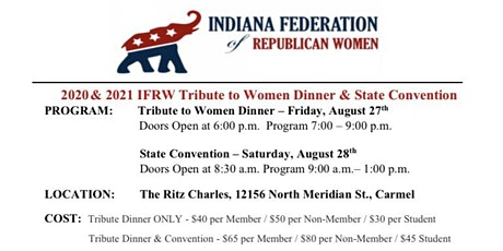 IFRW  Tribute to Women Dinner &  State Convention 8/27-28 tickets