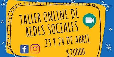 Taller de redes sociales (instagram, facebook, publicidad) bilhetes