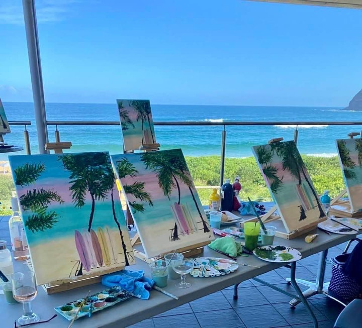 """"""" Rose and Renoir """" paint and sip class- We paint the beach image"""