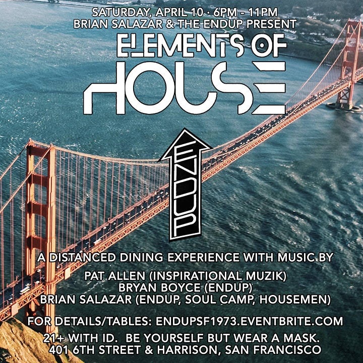 Elements of House Music & Dine at The EndUp image