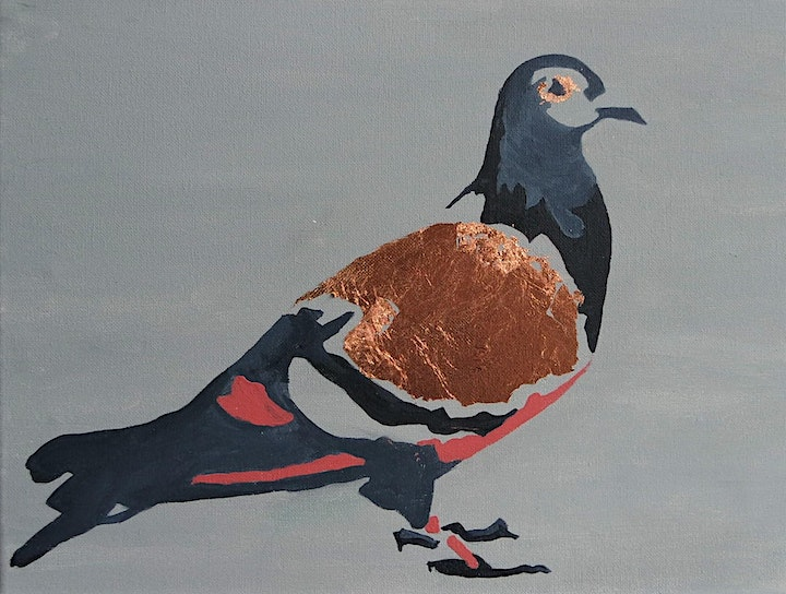 London Gilded Pigeon Painting Workshop - no drawing skills needed image