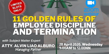 [PAID WEBINAR] 11 Golden Rules of Employee Discipline and Termination tickets
