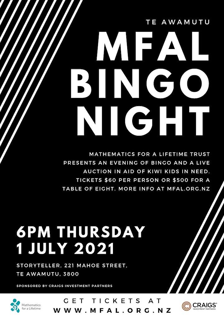 MFAL Bingo Night in Te Awamutu image