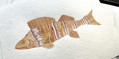Zentangle® Meets Watercolor -  Illustrative Fish tickets