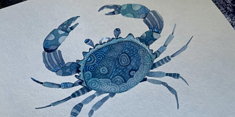 Zentangle® Meets Watercolor -  Illustrative Crab tickets