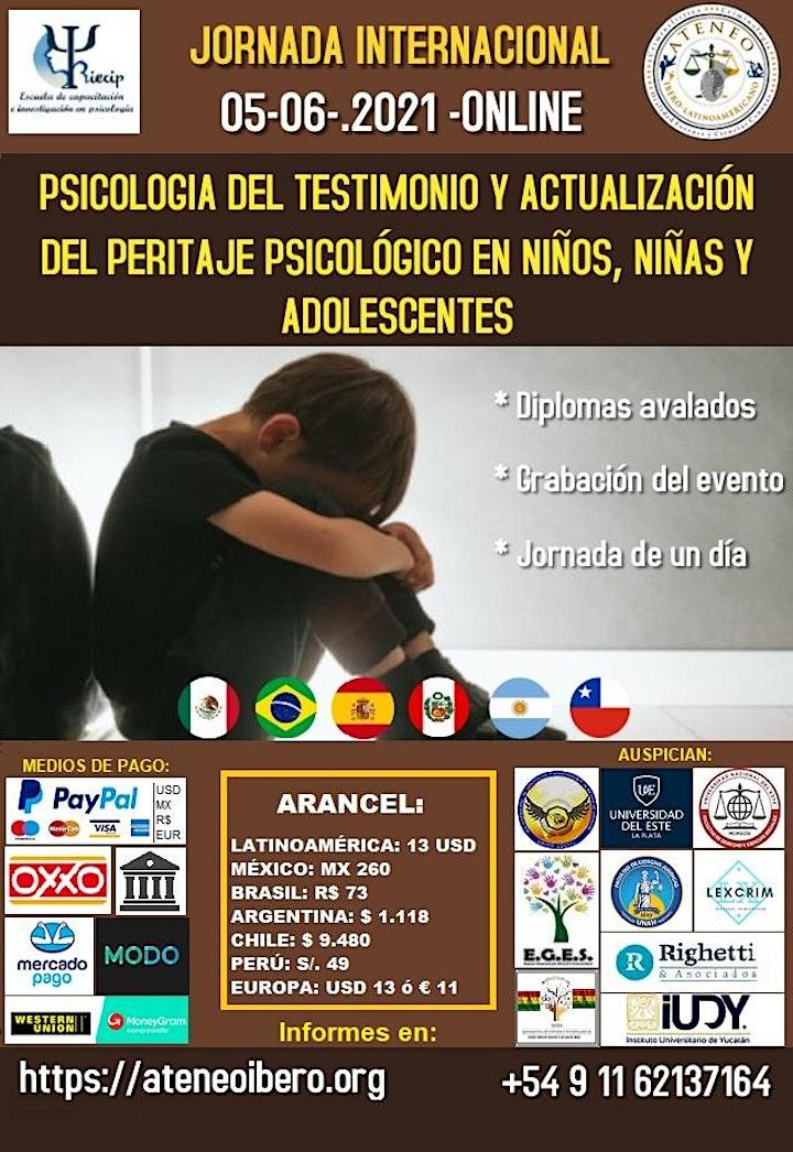 Imagen de JORNADA INTERNACIONAL PSICOLOGÍA DEL TESTIMONIO Y ACTUALIZACION DE PERITAJE