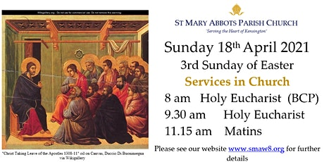 18th April 2021 Sunday Services, St Mary Abbots Church tickets