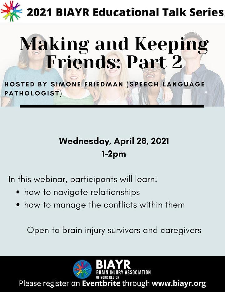 Making and Keeping Friends (Part 2) - 2021 BIAYR Educational Talk Series image