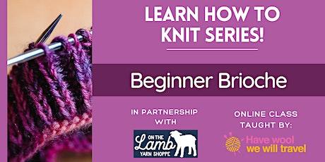 Learn to knit - Beginner 2-color Brioche tickets