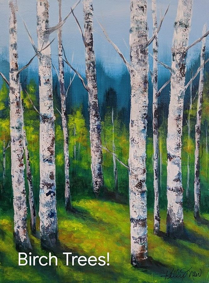 Acrylic Painting - Birch Trees with Kelly Maw - morning image