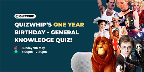 QuizWhip's One Year Birthday - General Knowledge Pub Quiz tickets