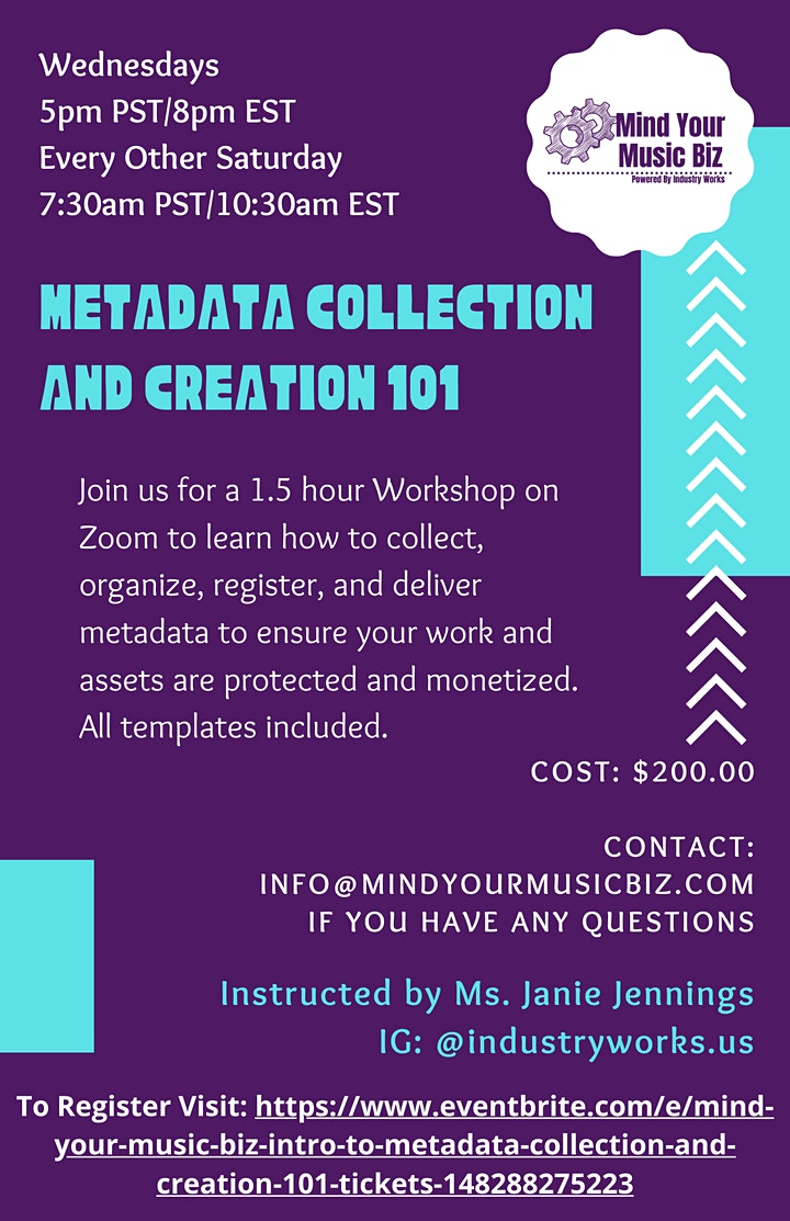 """Mind Your Music Biz: """"Intro to Metadata Collection and Creation 101"""" image"""