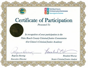 Citizen's Criminal Justice Academy (CCJA) in Palm Beach County 12 of 12 tickets