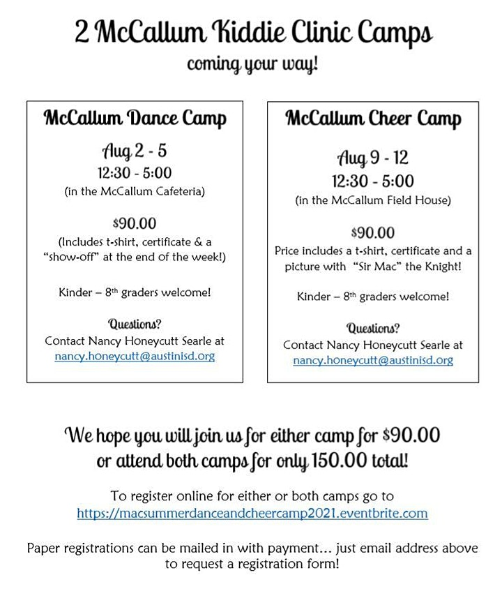 McCallum High School Summer Cheer and Dance Camps 2021 image