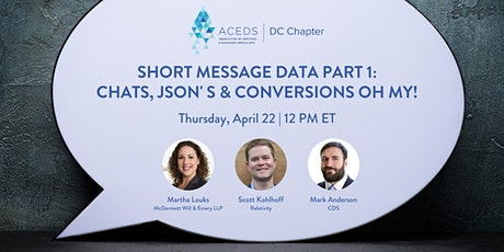 Short Message Data Part 1: Chats, JSON' s & Conversions Oh My! tickets