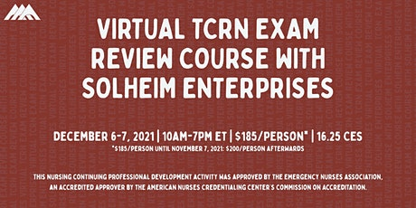 Virtual TCRN Exam Review Course | December 2021 tickets