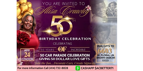 YOU'RE INVITED TO ALISA CRAWLEY 50TH BIRTHDAY CELEBRATION tickets