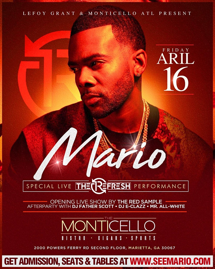 ReFresh Fridays a Special Performance by MARIO! MUST have Tix for Main Room image