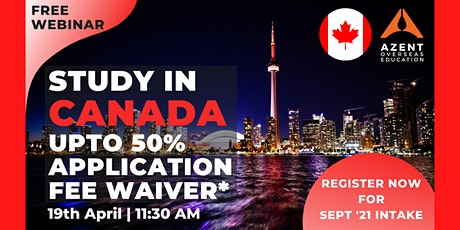Study in Canada UPTO 50% APPLICATION FEE WAIVER* tickets