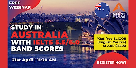 Study in Australia with IELTS 5.5/6.0 Band scores tickets