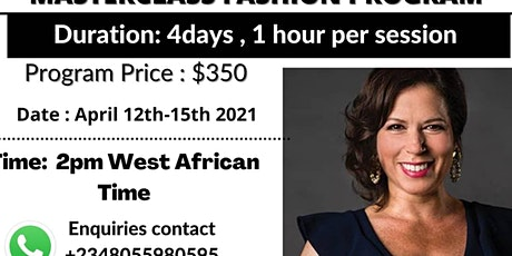 Masterclass fashion program, launch your  brand in the U.S market plac tickets