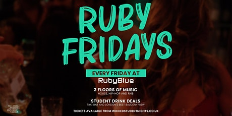 Ruby blue every Friday // student drink deals tickets // IS BACK tickets