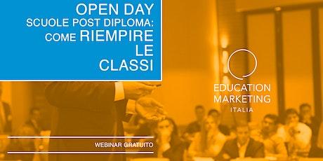 Open day scuole post diploma: come riempire le classi · Webinar Live biglietti
