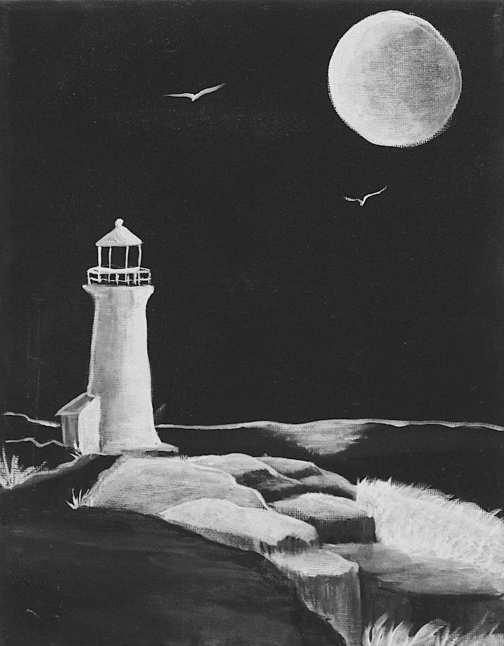 Art 101: Black & White Lighthouse Painting image