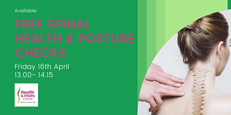 Free Spinal Health & Posture Checks for suffers of Back and Neck Pain. tickets