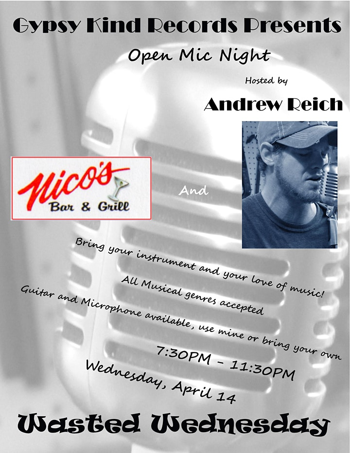 Open Mic Night @ Nico's Bar & Grill Hosted by Andrew Reich image