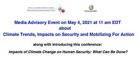 Media Advisory: Climate Trends, Impacts on Security & Mobilizing for Action tickets
