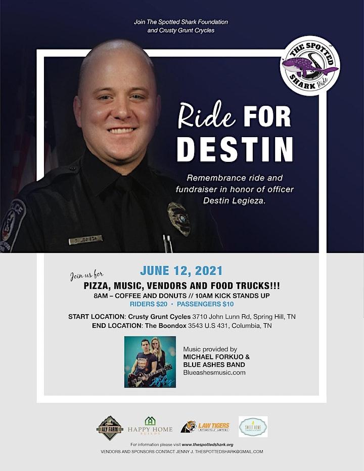 Remembrance Ride for Officer Destin Legieza  Memorial Marker/Bench image