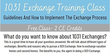 1031 Exchange Training Class tickets