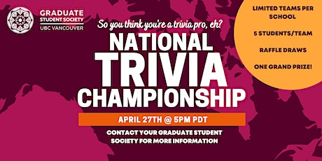 Canada Wide University Trivia  - UBC Teams (April 2021) tickets