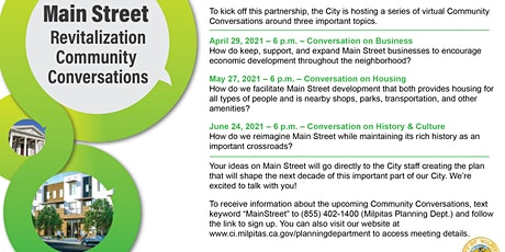 A Community Conversation on Revitalizing Main Street Milpitas, Part I tickets