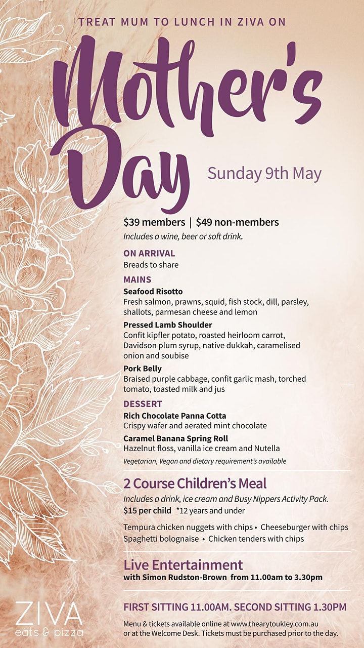 Mother's Day Lunch - Adult 1.30pm Sitting (Members) image