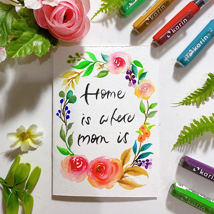 Mother's Day Floral Card Making with Karin Brushmarkers Workshop image