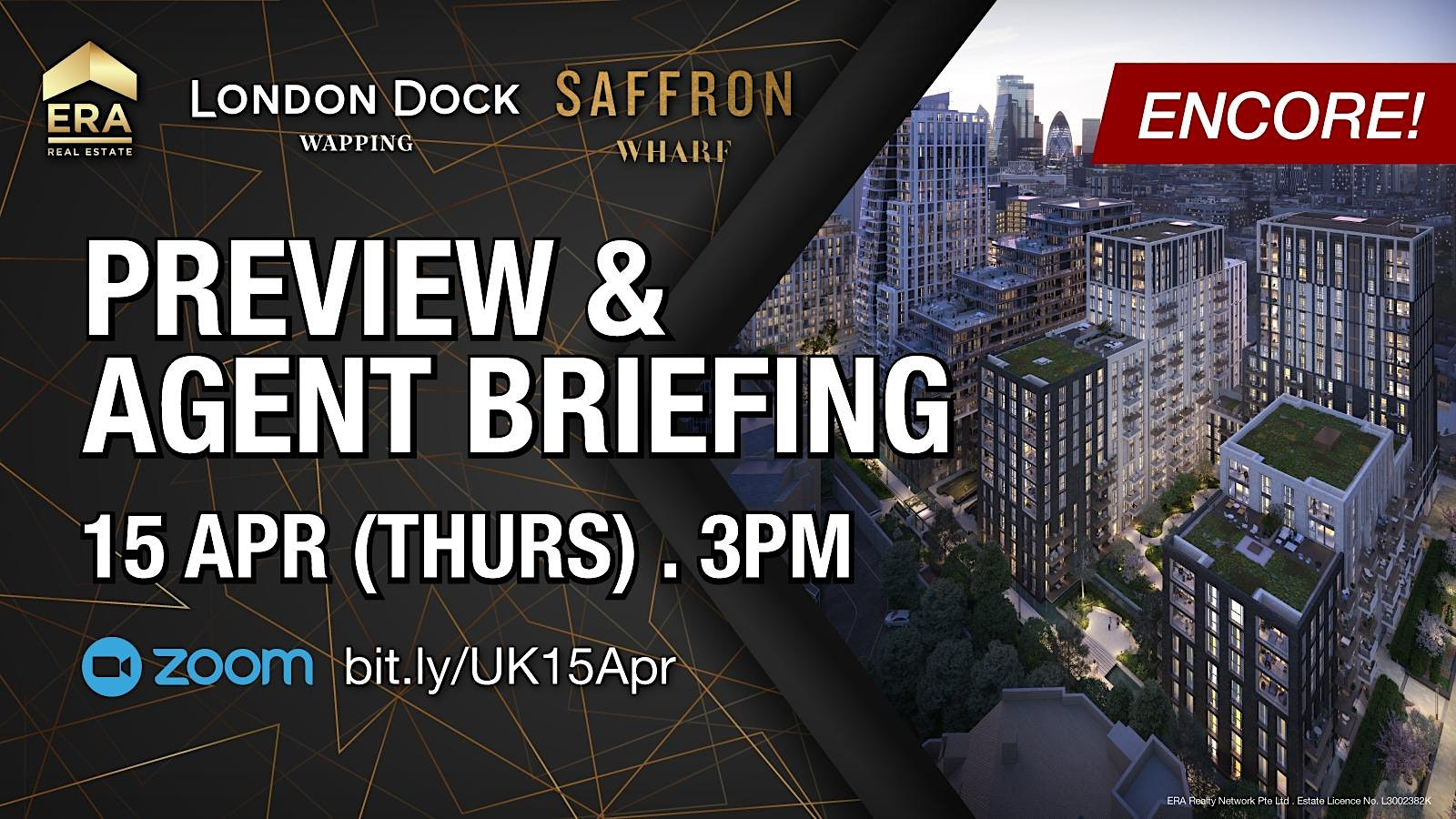 London Dock Wapping & Saffron Wharf: Preview & Agent Briefing (ENCORE)