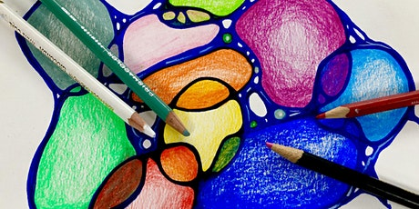 Wellbeing Art Sessions - Colour psychology abstract colour pencil pebbles tickets