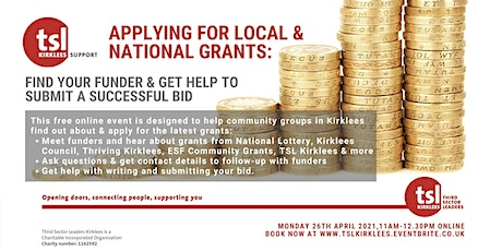 Applying for Local & National Grants: Find your funder tickets