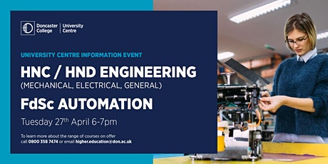 HNC / HND Engineering (Mechanical, Electrical, General) & FdSc Automation tickets